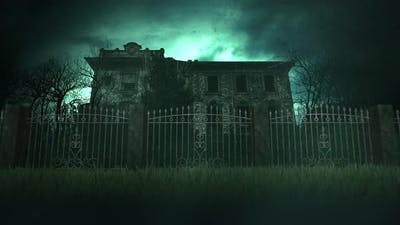 Mystical horror house and moon