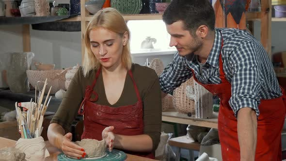 Thumbnail for Young Couple Enjoying Working with Clay at the Pottery Workshop 1080p