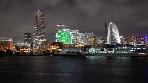Thumbnail for Yokohama Embankment Illuminated at Night Timelapse