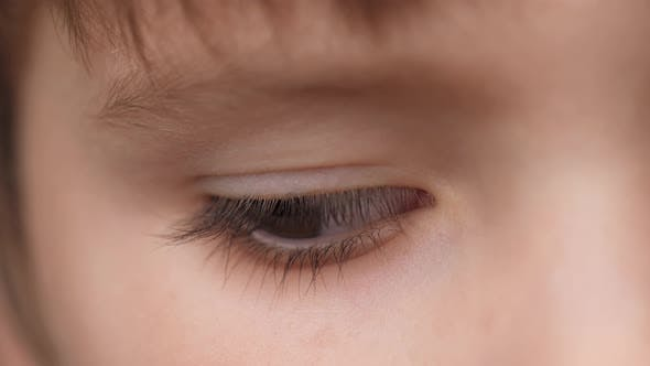 Thumbnail for Eye of Child. Extreme Close Up Eyes of Cute Caucasian Little Boy Confidently Looking Into the Camera