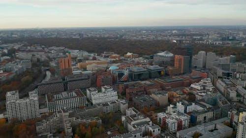 High Above Berlin Skyline Office Buildings Potsdamer Platz Autumn Aerial Wide Angle Forward Berlin