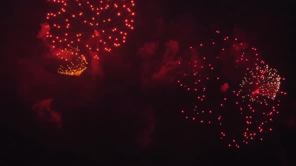 Explosions of Beautiful Fireworks in the Night