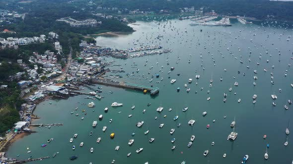 Thumbnail for Drone fly over Hong Kong yacht club in Sai Kung