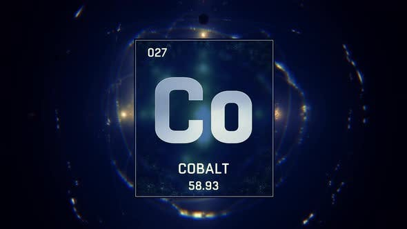 Cover Image for Cobalt as Element 27 of the Periodic Table 3D animation on blue background