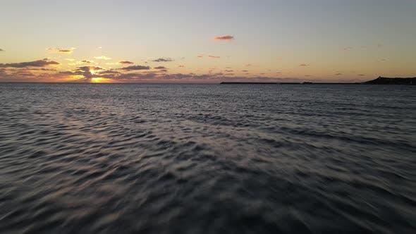 Sea Sunset Drone Shot