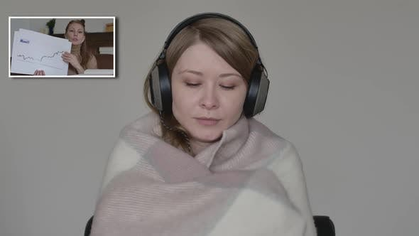 Thumbnail for Blond Caucasian Woman Coughing, Sneezing and Wrapping in Blanket As Listening To Colleague