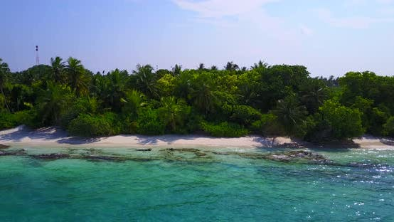 Thumbnail for Wide overhead island view of a white sand paradise beach and aqua turquoise water background in best