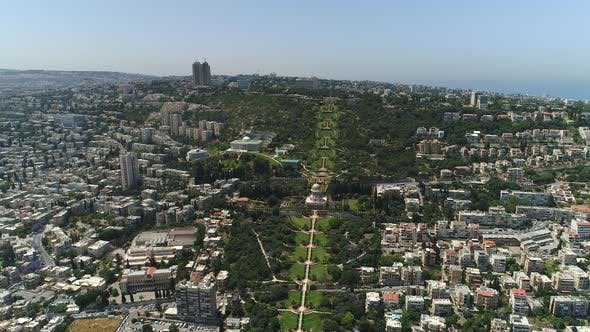 Aerial of Baha'i Gardens and buildings