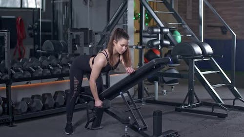 Young Female Lifts a Dumbbell in a Tilt Muscle Training with Weights Beautiful Girl Trains in the