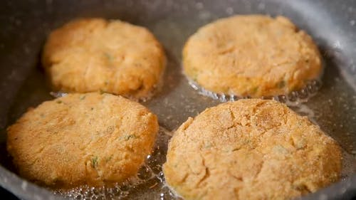 Cutlets Are Fried in a Frying Pan