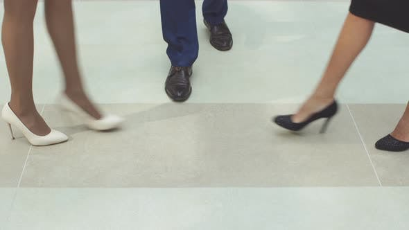 Thumbnail for Group of Business People Come To Meet, Legs Closeup