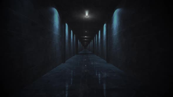 Flicker Blue Lights Corridor Loop