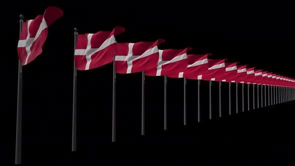 Row Of Denmark Flags With Alpha 4K