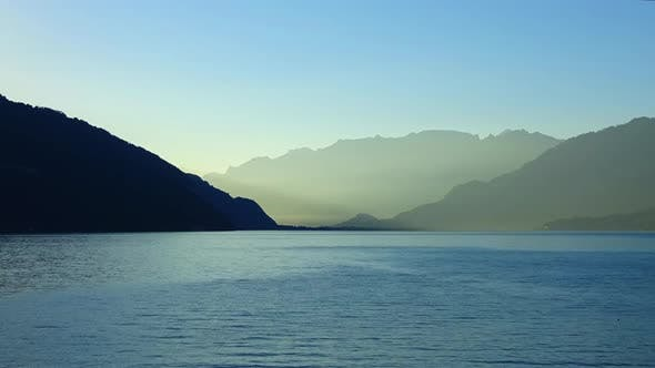 Time lapse view lake Thun (Thunersee) and mountains of Swiss Alps in city Spiez