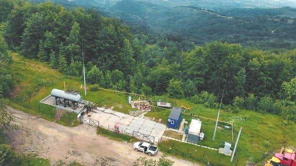 Thumbnail for Aerial View Small Gas Station Located on Top of the Mountain. Gas Distribution Complex in the