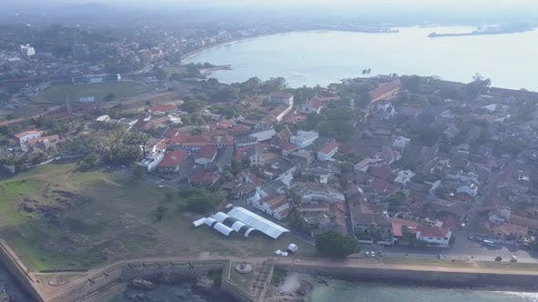 Small Town at Ancient Galle Fort Near Tranquil Sea Bay