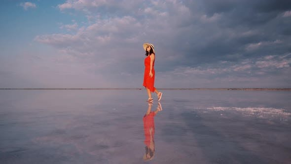 Thumbnail for Girl in a Fluttering Dress Walks Along a Pink Salt Lake in Which the Sky Is Reflected