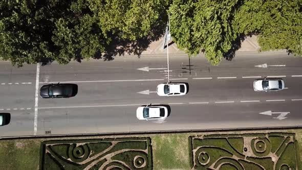 Thumbnail for Top Down Street View of Freeway Busy City Rush Hour Heavy Traffic Jam Highway.