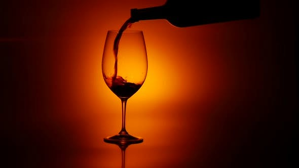 Thumbnail for Red Wine Pouring in Glass, Dark, Slowmotion