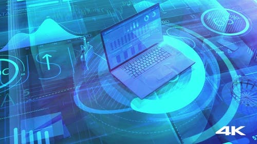 A Laptop And An Array Of Big Data In Digital Space 4K