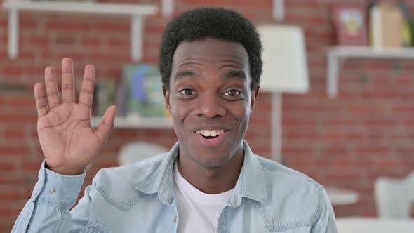 Portrait of Happy African Man Waving, Hello