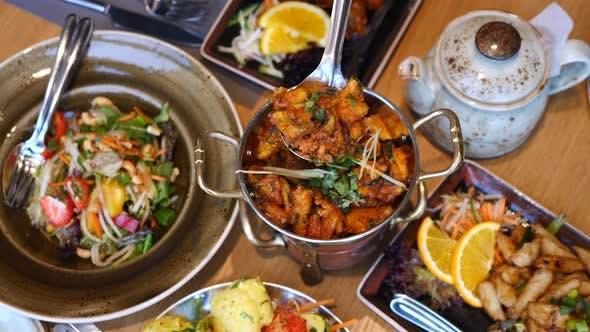 Healthy Vegetarian Vegan Dinner Table With Veggie Food.
