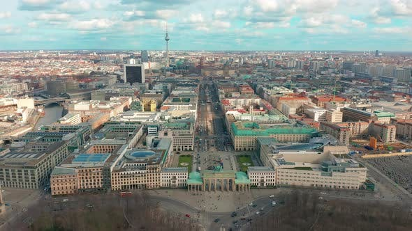 Thumbnail for Berlin Brandenburg Gate Aerial View with City Traffic
