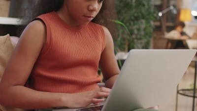 Afro Girl Studying Online