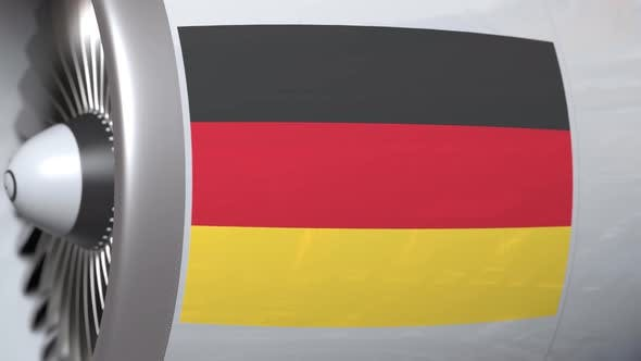 Thumbnail for Airplane Turbine with Flag of Germany