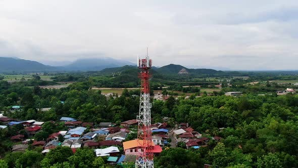 Telecommunication Antenna Tower With 5G And 4G Base Network Aerial View.