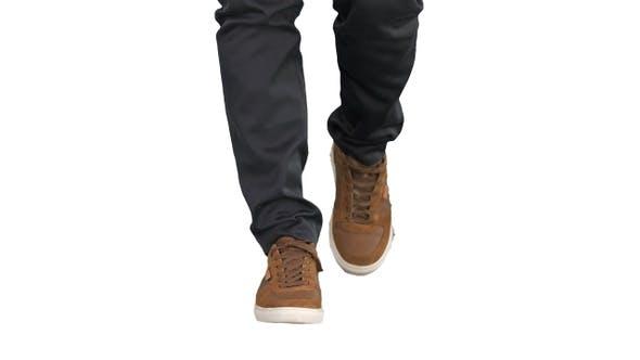 Thumbnail for Men walking in autumn sneaker shoes on white background.