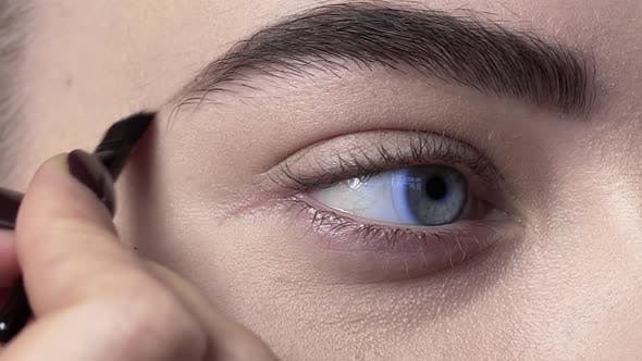 Thumbnail for Close Up of the Eye Brows Makeup, Woman Paints Brows, Eye Makeup, Beauty Fashion Makeup Artist