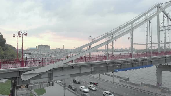 Thumbnail for Pedestrian Bridge Over the Dnipro River in Kyiv, Ukraine. Aerial View