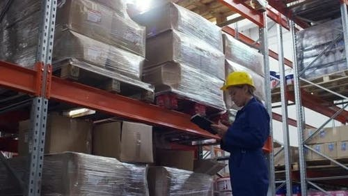 Warehouse Worker Inspecting New Merchandise