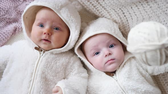 Thumbnail for Two Twin Babies, Four Months Old Girls In Bed On Cosy Knit Blanket.