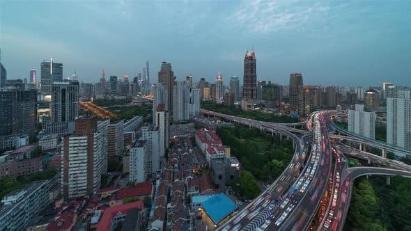 Thumbnail for Shanghai, China, Timelapse  - Nine Dragon Pillar Day to Night