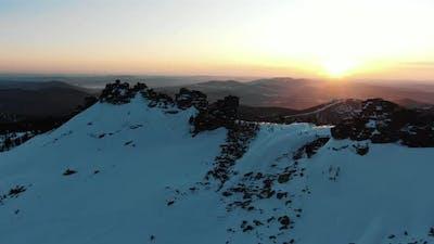 Mountains with White Snow on Slopes at Famous Ski Resort