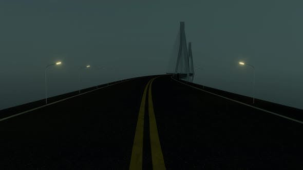 Fast driving forward on the long curve bridge at night