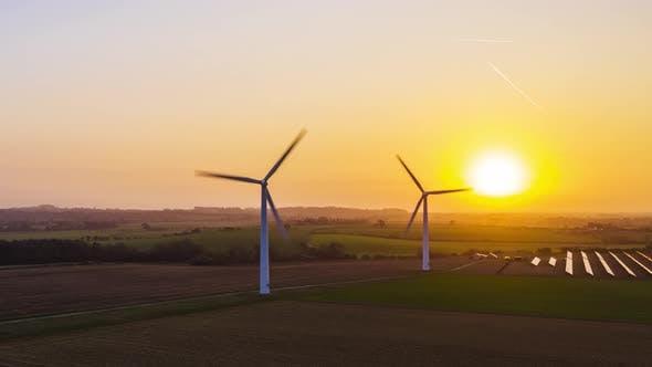Thumbnail for Wind Farm at Sunrise Motion Time lapse