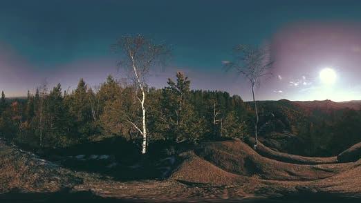 Thumbnail for 360 VR Virtual Reality of a Beautiful Mountain Scene at the Autumn Time. Wild Siberian Mountains.
