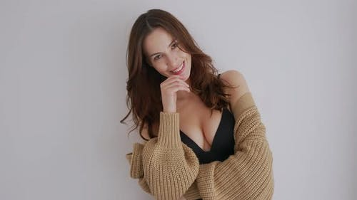 Romantic Lady in Top and Cardigan