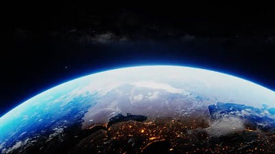 Planet Earth From Outer Space Spinning in the Cosmos