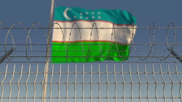 Thumbnail for National Flag of Uzbekistan Behind Barbed Wire
