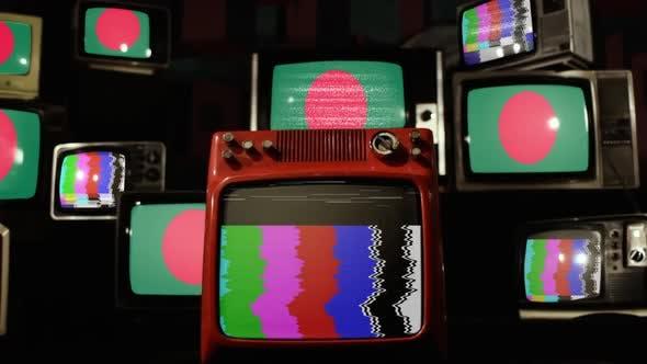 Bangladesh flag on a Retro TV Wall.
