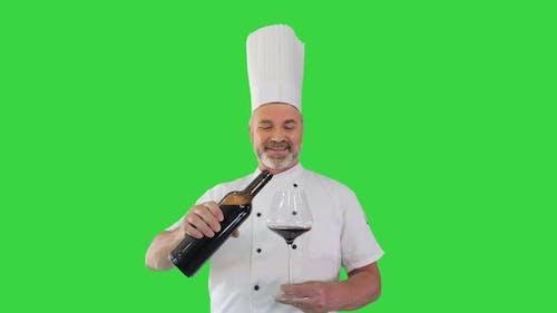 Chef Tasting Red Wine Enjoying It Green Screen Chroma Key