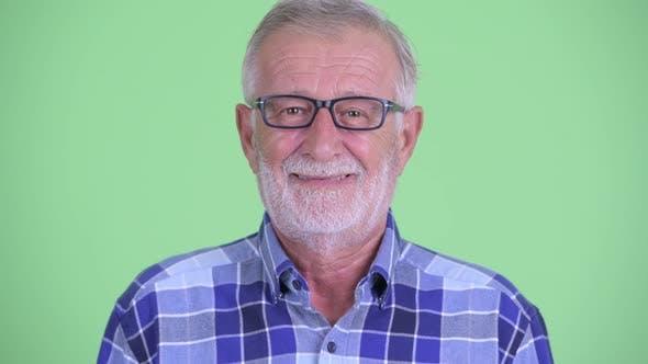 Thumbnail for Face of Happy Senior Bearded Hipster Man Smiling