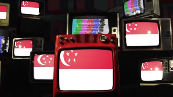 Thumbnail for The national flag of Singapore and Vintage TVs.