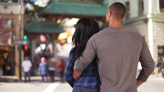 Thumbnail for Loving black couple in San Francisco visiting Chinatown