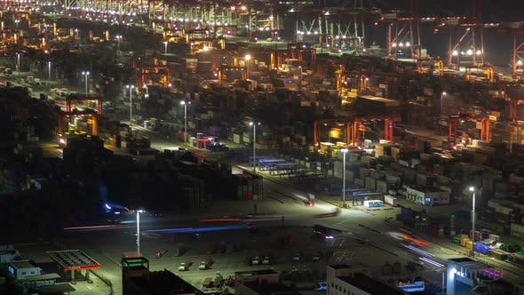 Yangshan Shanghai Container Port Terminal and Logistics Center Timelapse Zoom Out
