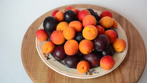 Apricots and Plums on the Plate